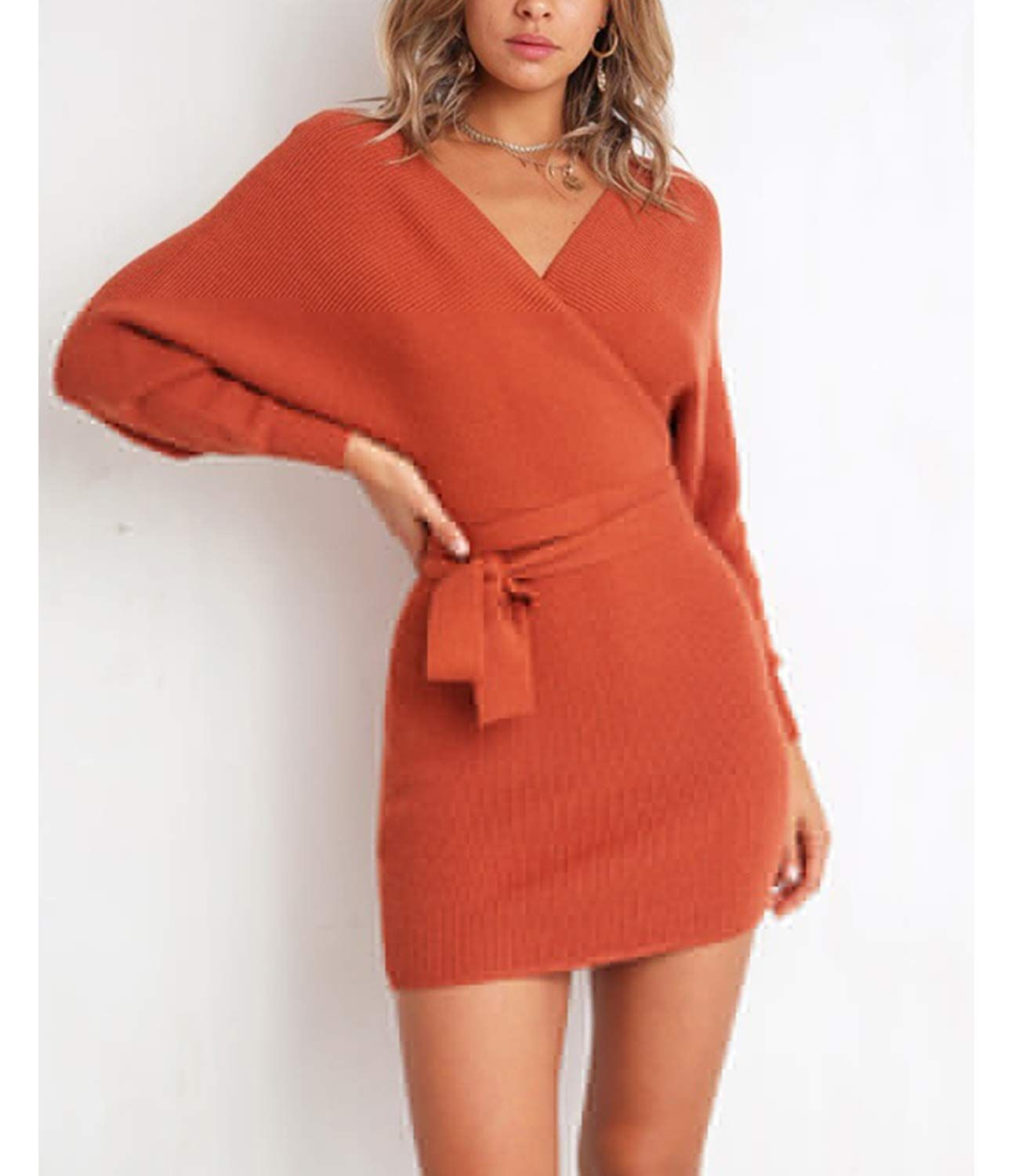 ba7fbbcc Mansy Womens Sexy Cocktail Batwing Long Sleeve Backless Mock Wrap Knit  Sweater Mini Dress ** Want to know more, click on the image.