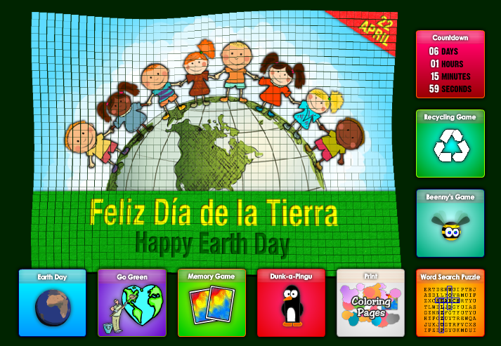 Earth Day/Dia de la Tierra online games in Spanish from OnlineFreeSpanish.com