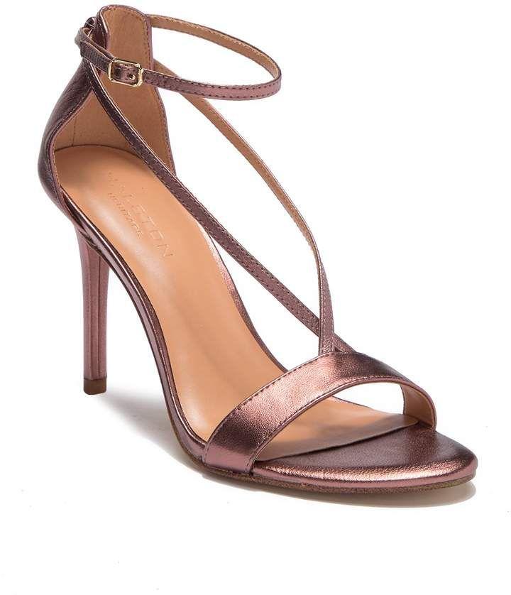 2fb21caa6db ShopStyle Collective Halston Heritage, Leather Heels, Metallic Leather,  Evie, Mink, Sandal