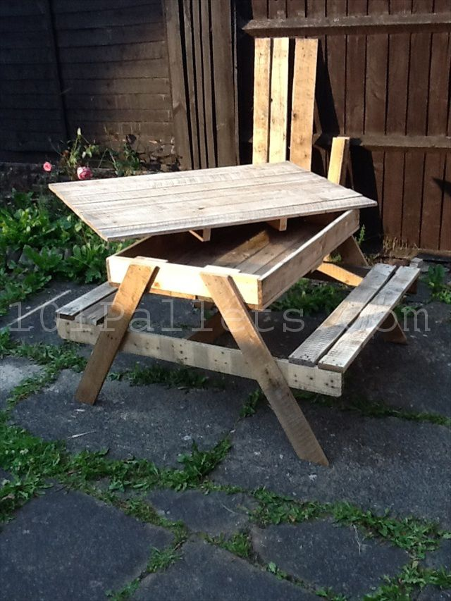 Picnic Bench Ideas Part - 28: 15 Unique Pallet Picnic Table | 101 Pallets-like The Idea Of The Storage,