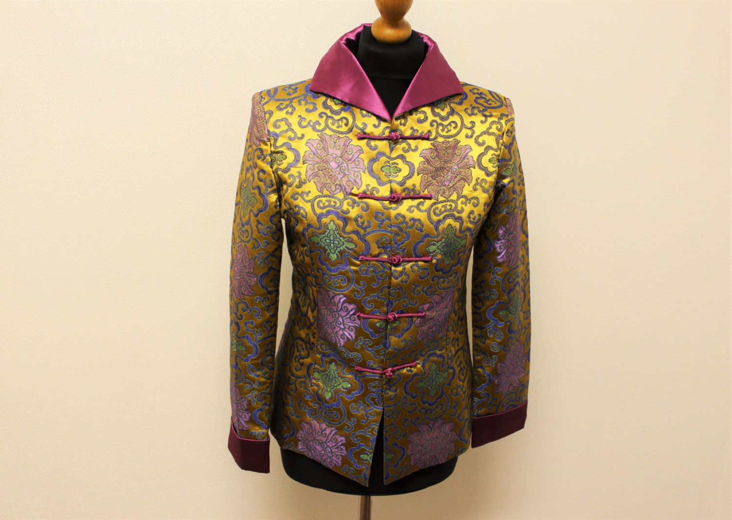 Asian Gold Jacket Exotic Chinese Silk Oriental Blazer Pink Gold ...