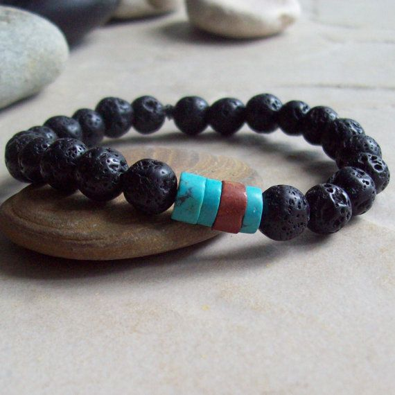 KONA Lava Bracelet with Turquoise Heishi and by riverpebble, $28.00