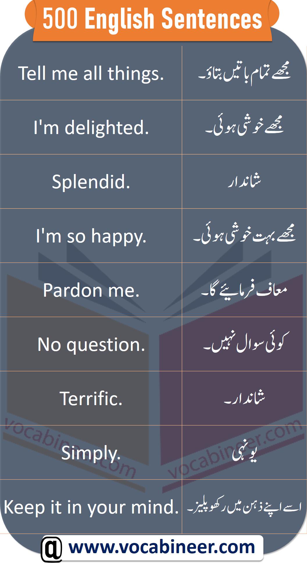 English Sentences With Urdu In 2020 English Vocabulary Words Learn English Words English Sentences