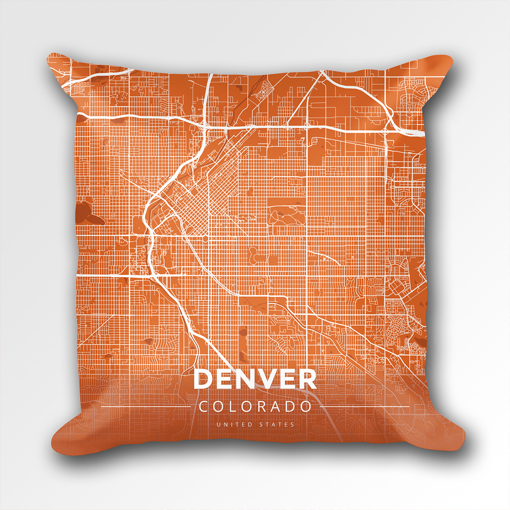 Map Throw Pillow Of Denver Colorado Modern Burnt Denver Map Art