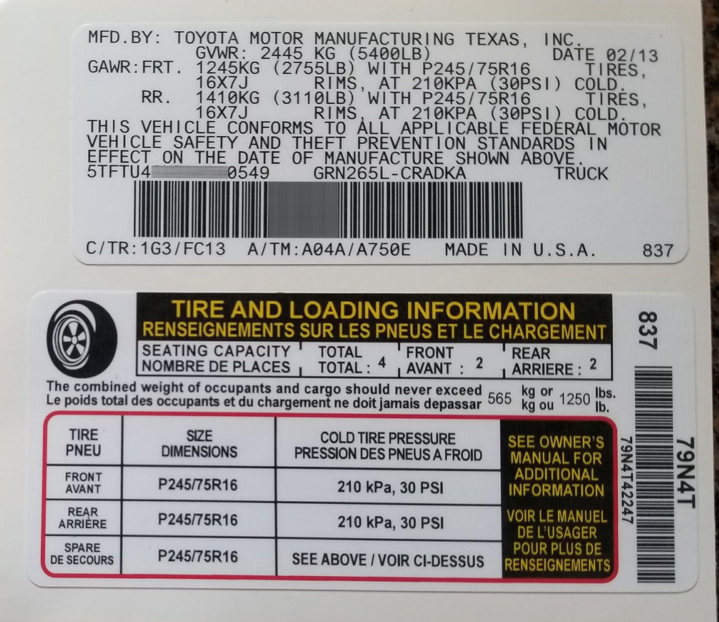 Toyota Tire Pressure Sticker Toyota Labels Toyota Motors [ 1992 x 2302 Pixel ]