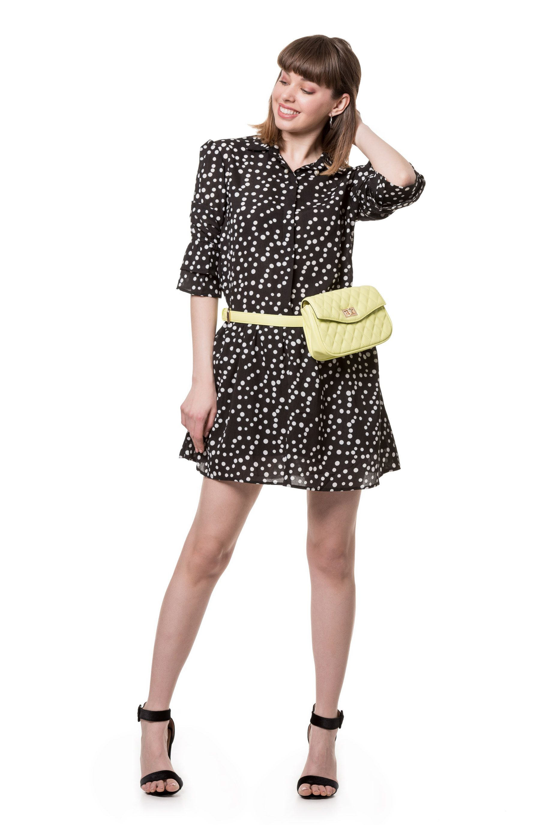 36c451ab4514 Φόρεμα πουά Φόρεμα πουά σε γραμμή Α με κουμπιά εμπρός ΠΕΡΙΓΡΑΦΗ Φόρεμα πουά  σε γραμμή Α