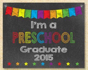 I'm a Preschool Graduate Chalkboard sign, Instant Download, Last Day of School, Back to school sign printable, Preschool Graduation sign