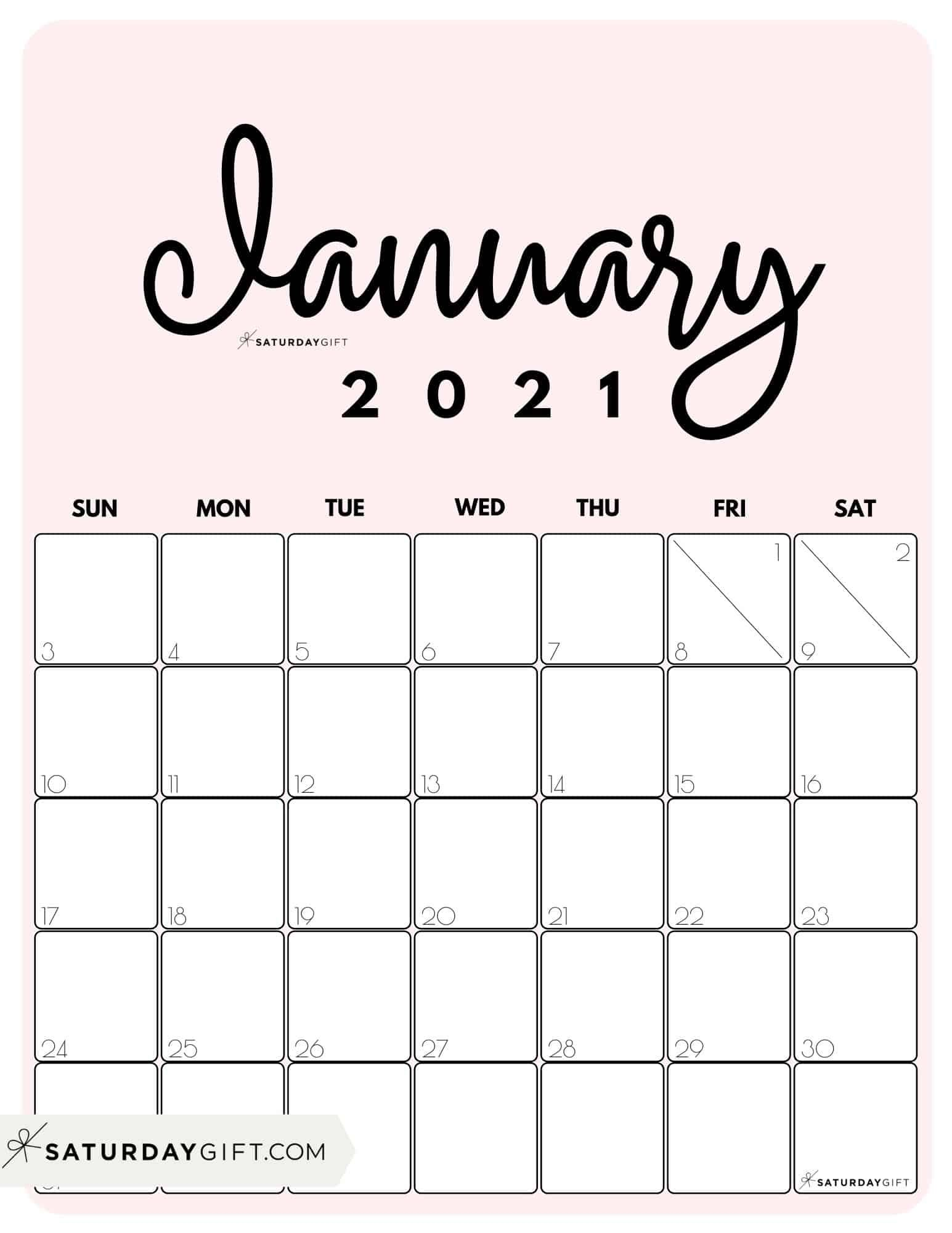 Pretty January 2021 Calendar Cute (& Free!) Printable January 2021 Calendar | SaturdayGift