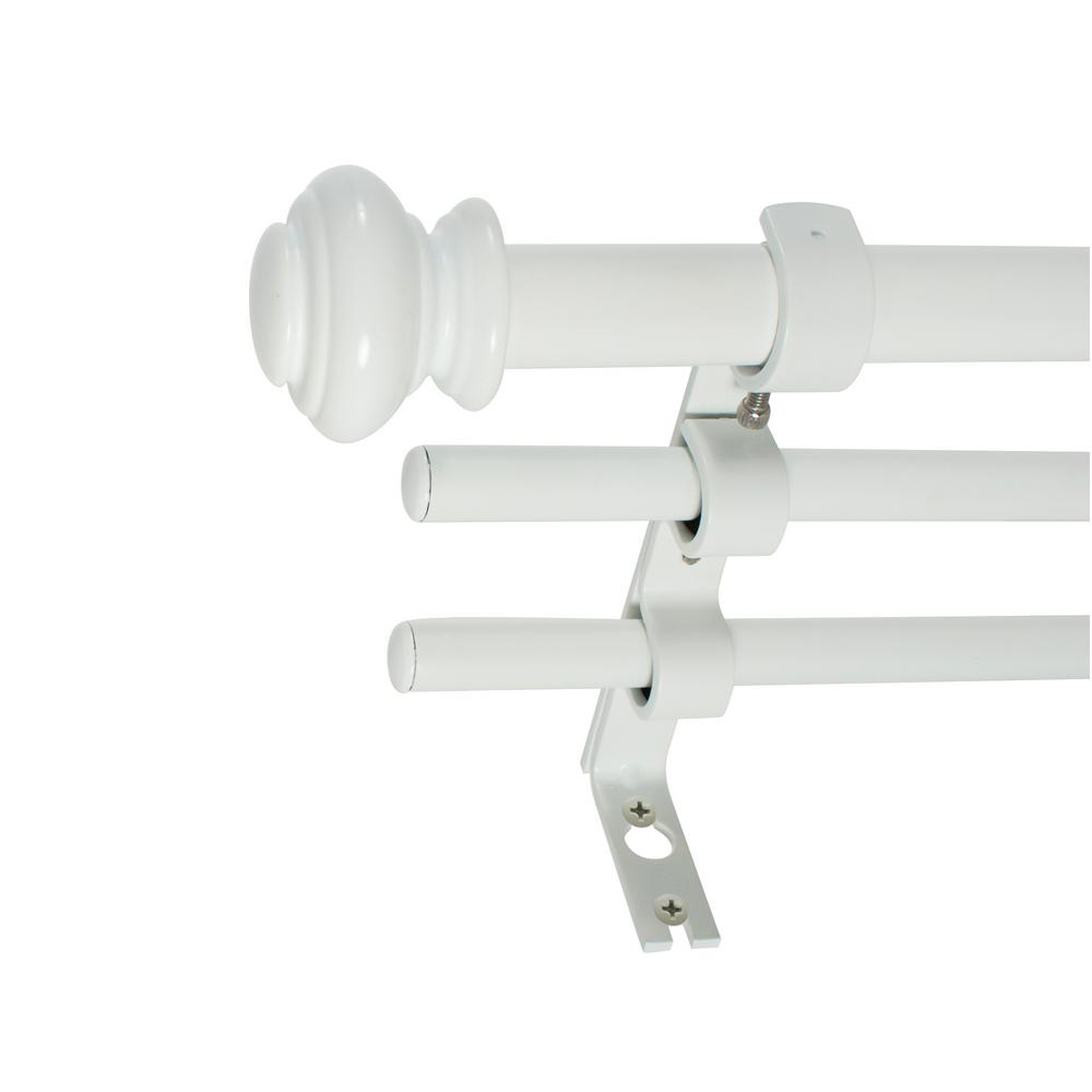 Decopolitan 3 4 In Urn Triple Drapery Double Rod Set 42 In 120 In In White Curtain Rod Hardware Drapery Rods Curtain Rods
