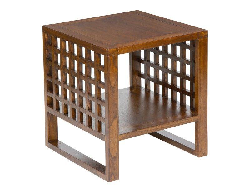 mesa auxiliar cuadrada de madera para saln
