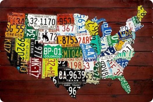Maps United States Map Made Out Of License Plates Blog With - Us map made out of license plates
