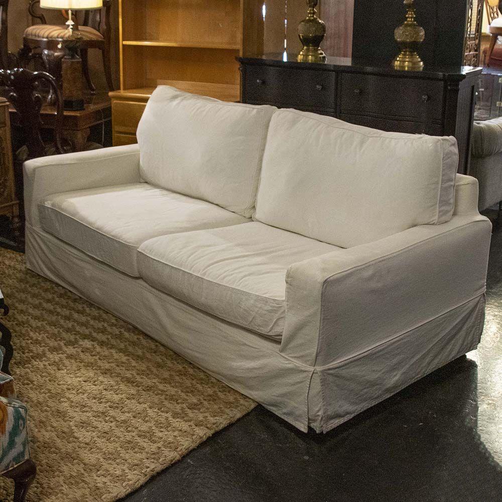 Pottery Barn Ivory Slipcovered Sofa Cushions On Sofa Quality Sofas Slipcovers