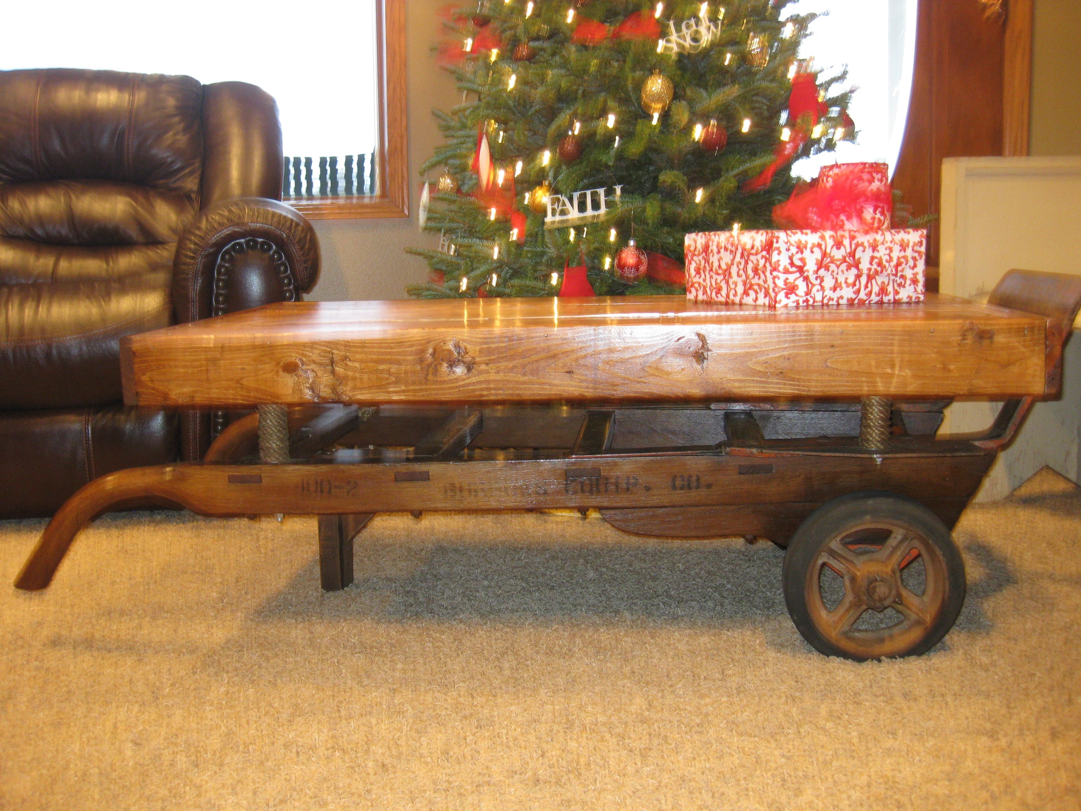 My parents old 2 wheel feed cart turned into a coffee table using