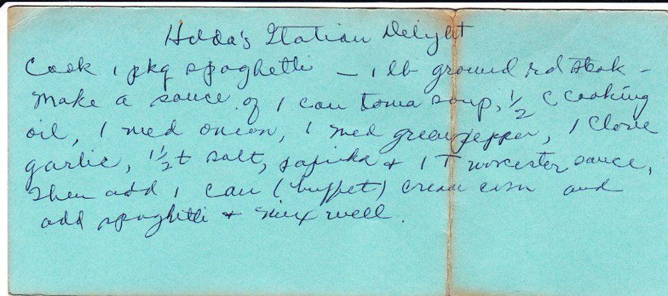 Unusual creamed corn recipe from the files of W. E.'s wife, Hilda Crowe.
