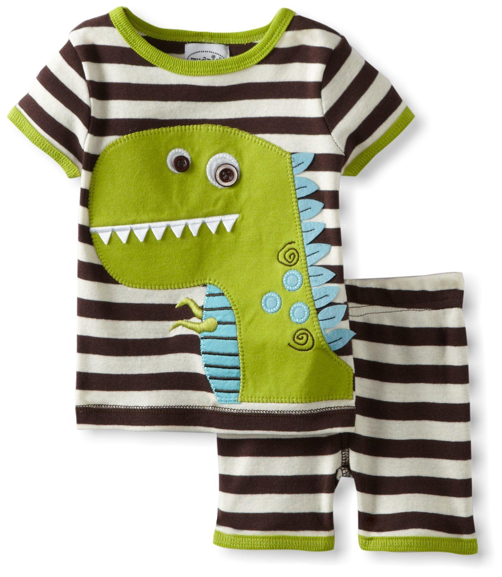 45877ca21686 Mud Pie Baby-Boys Newborn Dinosaur Short Pajama Set