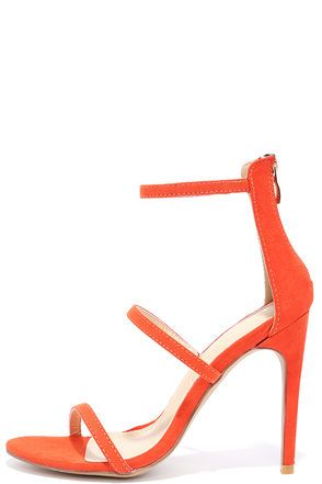 """You'll be all dolled up in two shakes with the Three Love Orange Suede Dress Sandals! A minimal vegan suede upper has three skinny straps, a peep toe, and a 3.25"""" heel zipper with shiny gold pull."""