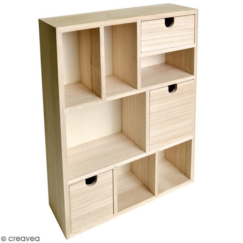 Mueble casillero con cajones de madera en bruto - 9 compartimentos ...