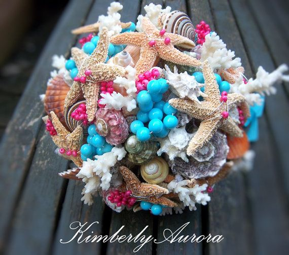 Beach Wedding, Shell Bouquet for Bridesmaids (Velassaru Paradise Turquoise Style). Made to Order Custom Details