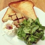 Goats curd, roasted pear, brioche and truffle honey. By Tom Aikens