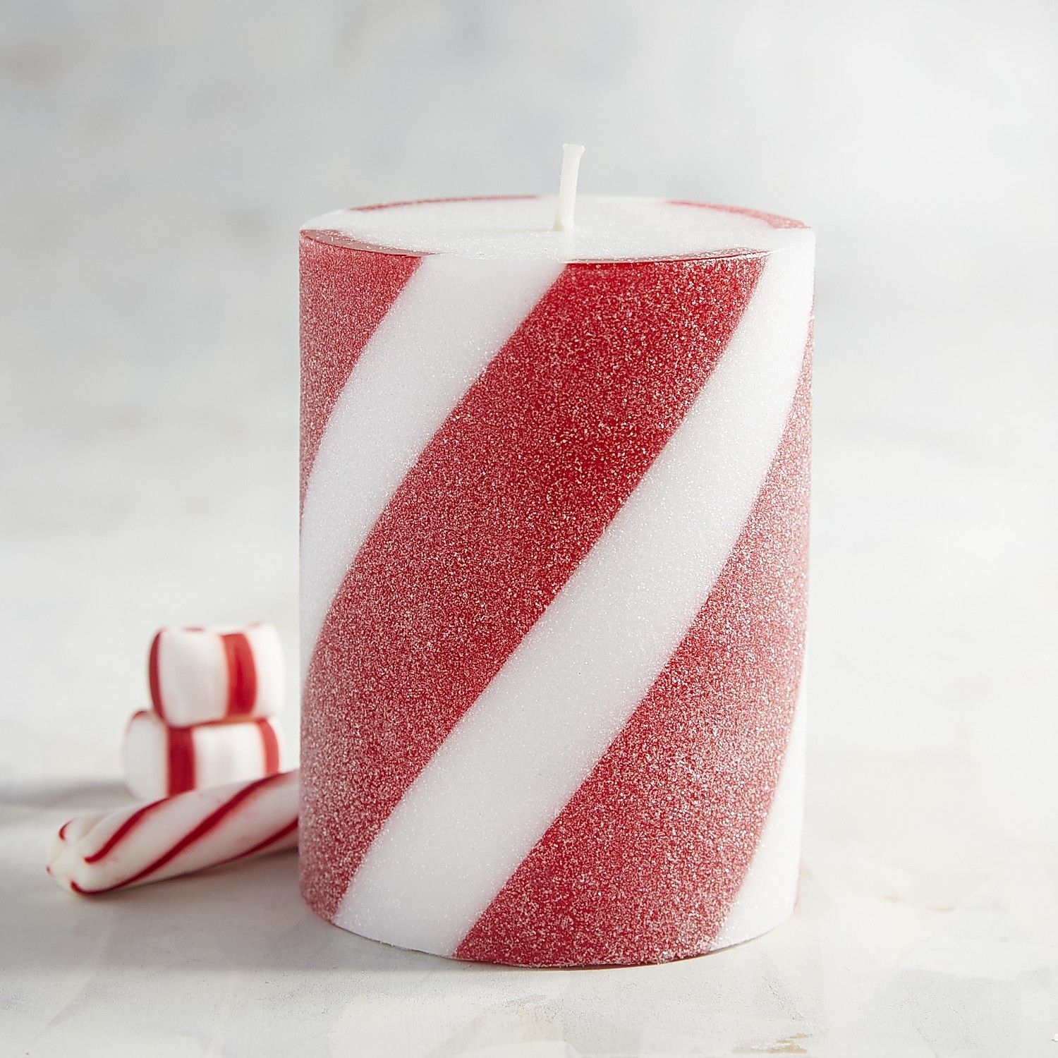 Peppermint party striped x pillar candle peppermint and products
