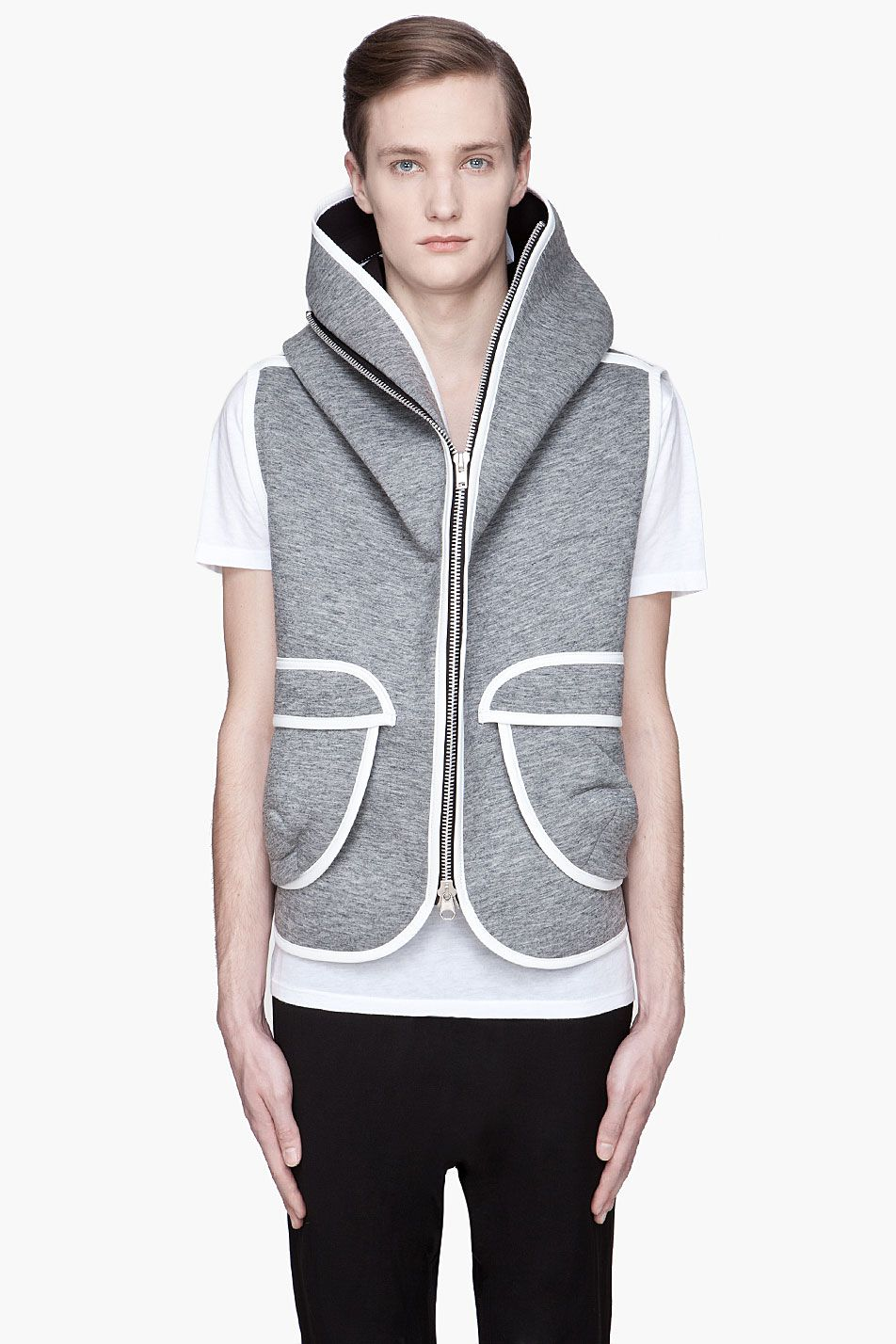 DENIS GAGNON Grey and white hooded Zip-Up Vest