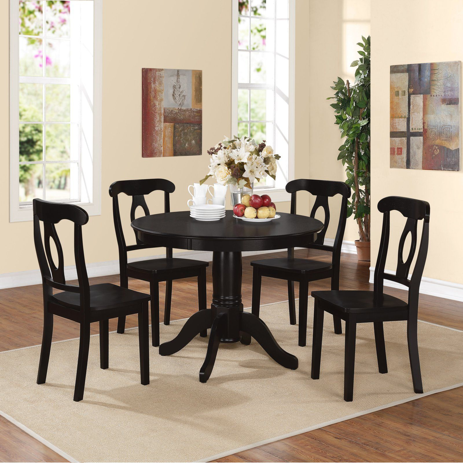 Dorel Living Aubrey 5 Piece Pedestal Dining Set Dining Room Sets