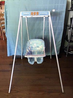 Graco Swing Chair Zebra Blue Slipcovers Vintage 1980 S Swingomatic Wind Up Crank Baby 039