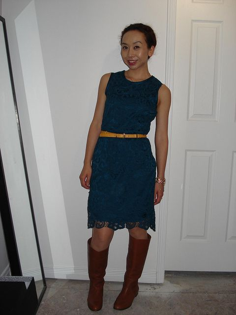 Moon Apparel Turquoise Lace Dress J Crew Booker Boots