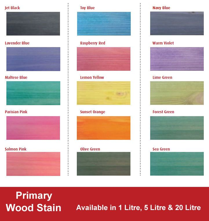 Hannants Primary Wood Stain Various Colours Sizes Wood Stain Color Chart Staining Wood Wood Stain Colors