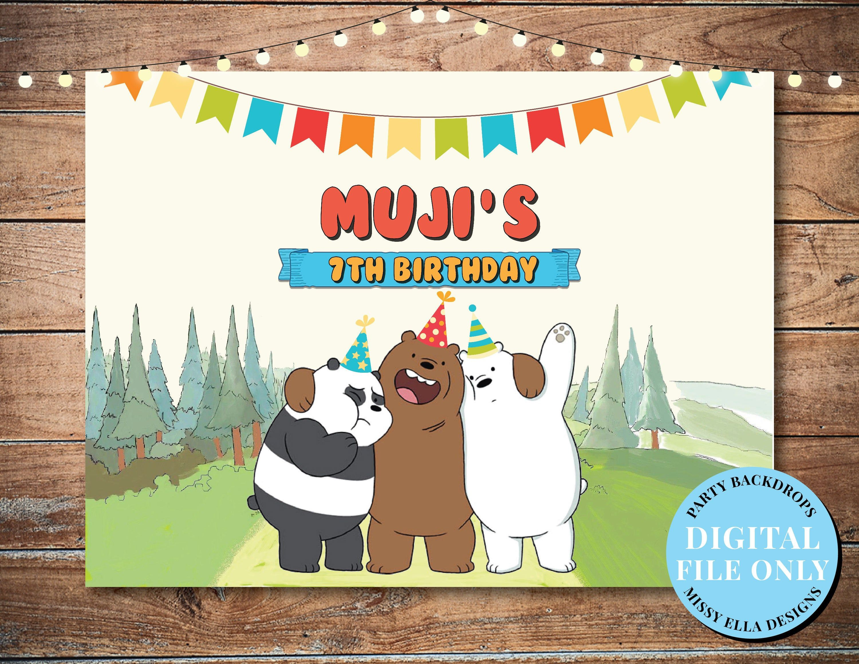 Digital File We Bare Bears Birthday Banner We Bare Bears Party Backdrop Personalized Party Backdrop Panda Yog Bear Birthday Bear Party Personalized Party
