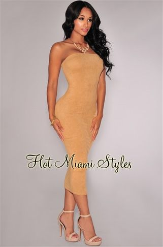 Nude Faux Suede Strapless Midi Dress