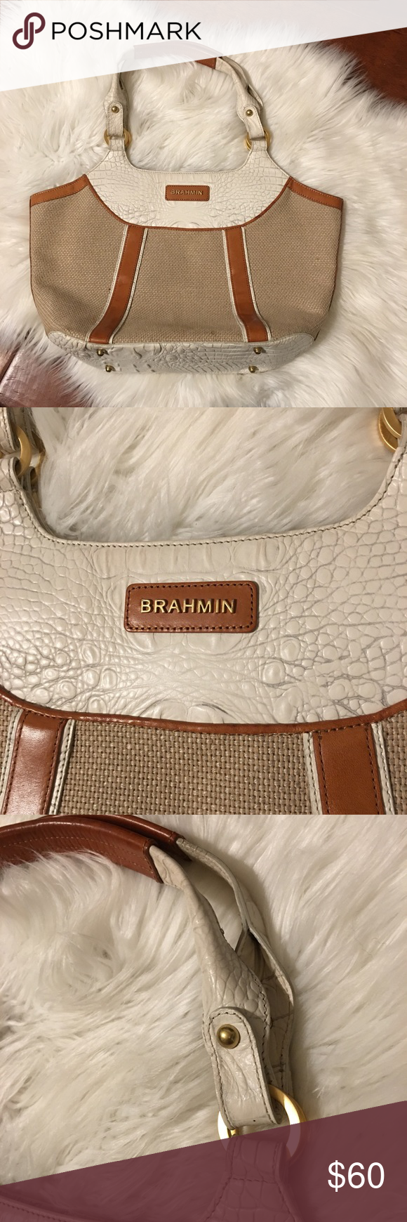 Brahmin ostrich shoulder bag Beautiful tan leather and white ostrich on  straw bag. Has metal on bottom to keep from damaging. 332afd824f