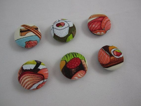 Sushi Magnets  Set of Six 6  Ready to Ship by adrisadorables, $5.00