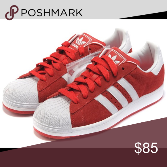 Men's adidas superstar red and white size 11