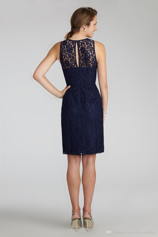 Cheap short navy blue bridesmaid dress halter high neck cutout back