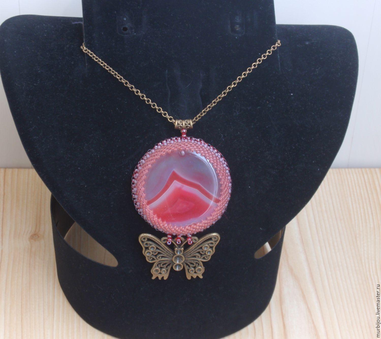Купить Кулон с розово- серым агатом - коралловый, розовый, серый, агат натуральный, бабочка