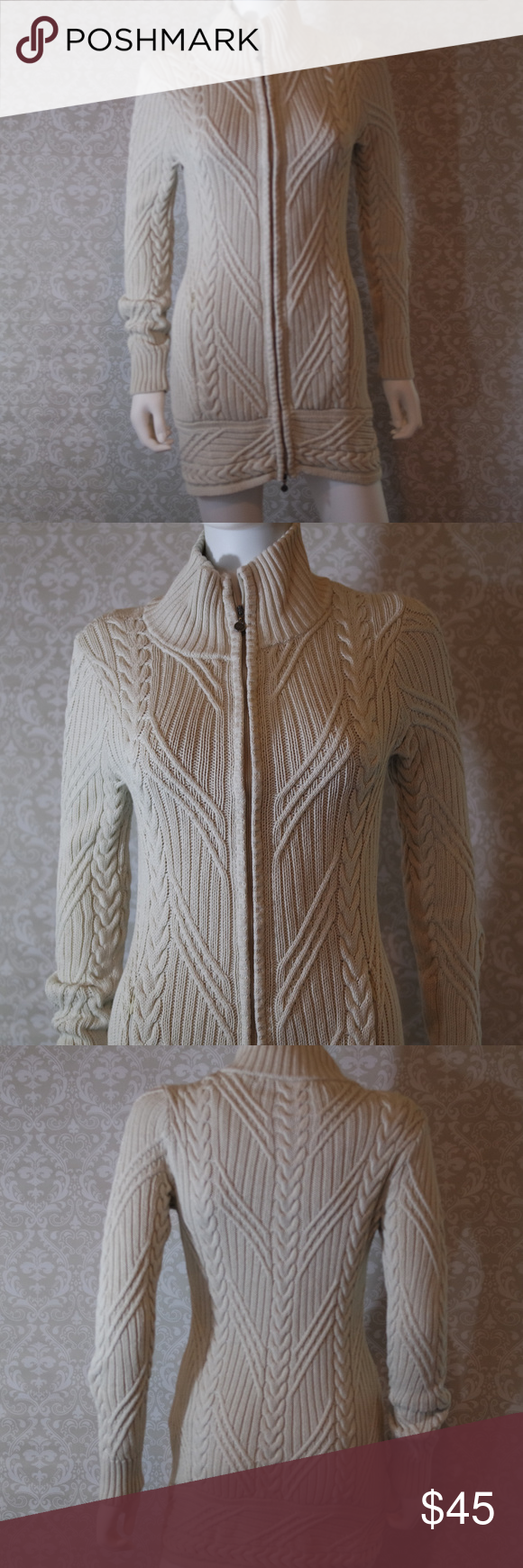 Athleta Cream Sweater Dress  Size S Stunning yet comfortable cream ribbed sweater dress with zip front.  Athleta.  Size S.  Like new condition.   Bundle the items you like and I will send you my best offer.  Thank you for shopping my closet.  :0)  (E) Athleta Dresses