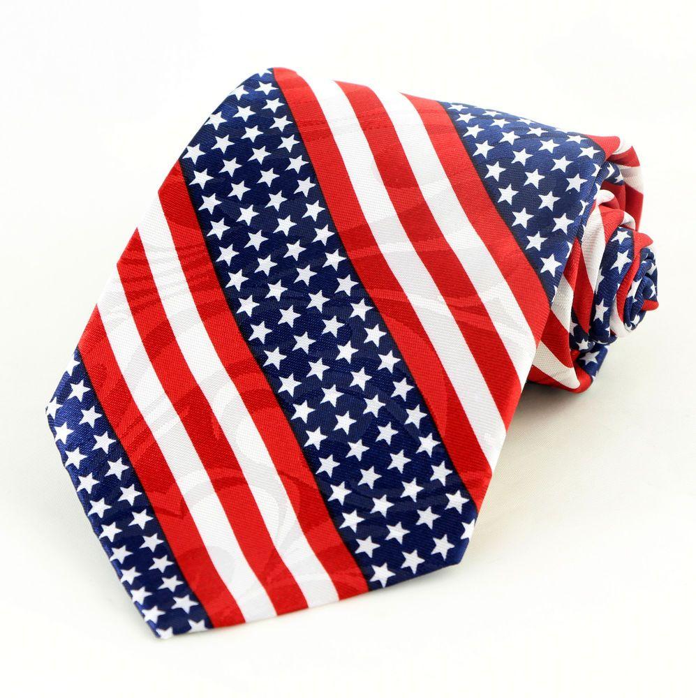 American Pride Mens Necktie Patriotic Flag July Holiday