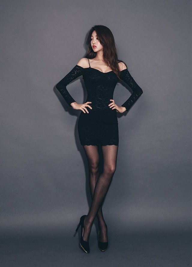 Jung Yun 정윤 Jung Yun 정윤 Fashion Sexy Black Tights
