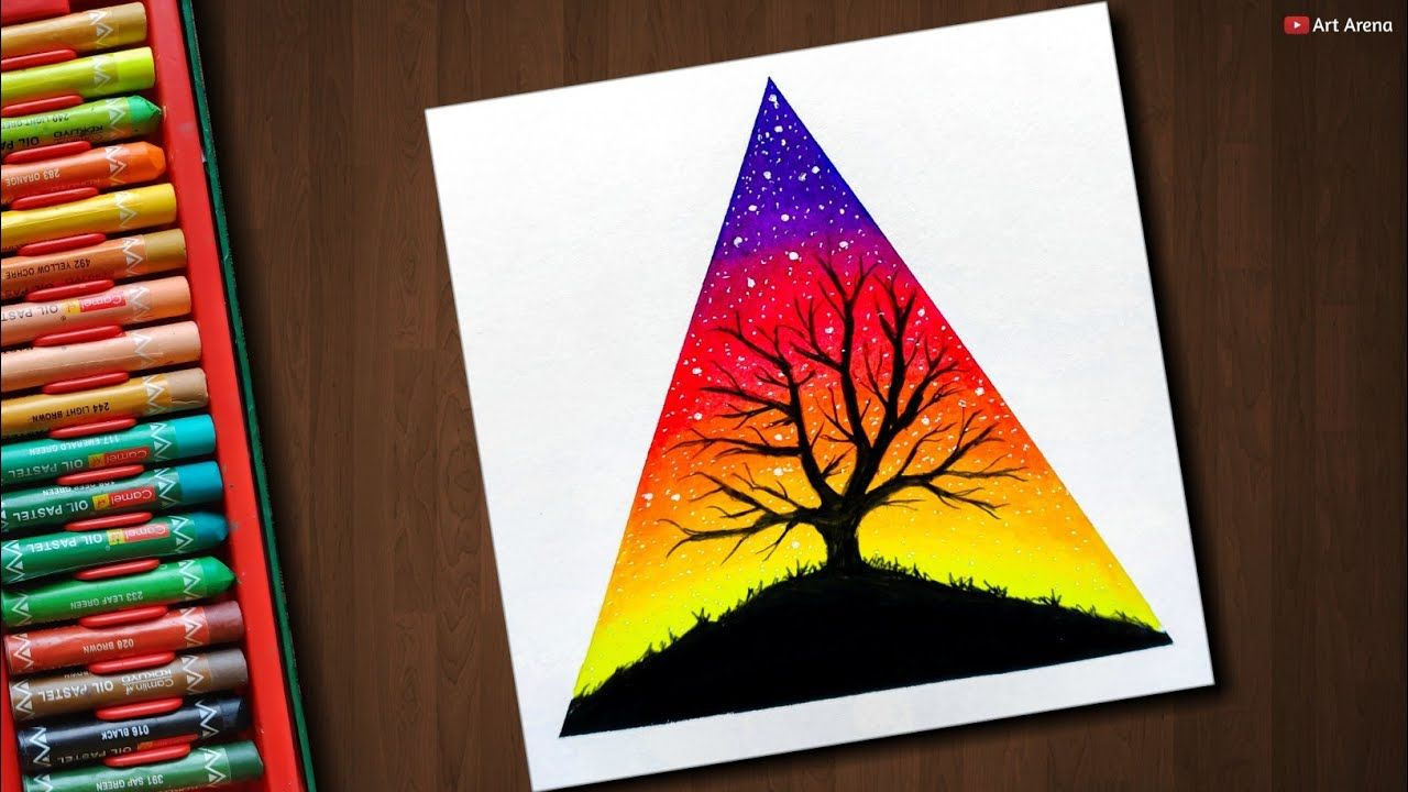 Tree Scenery Drawing With Oil Pastels Step By Step Oil Pastel Art Soft Pastel Art Oil Pastel