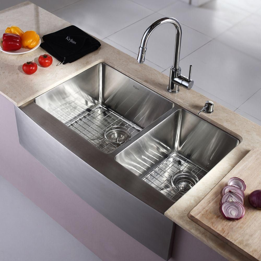 Kraus Farmhouse A Front Stainless Steel 33 In Double Bowl Kitchen Sink Khf203 The Home Depot