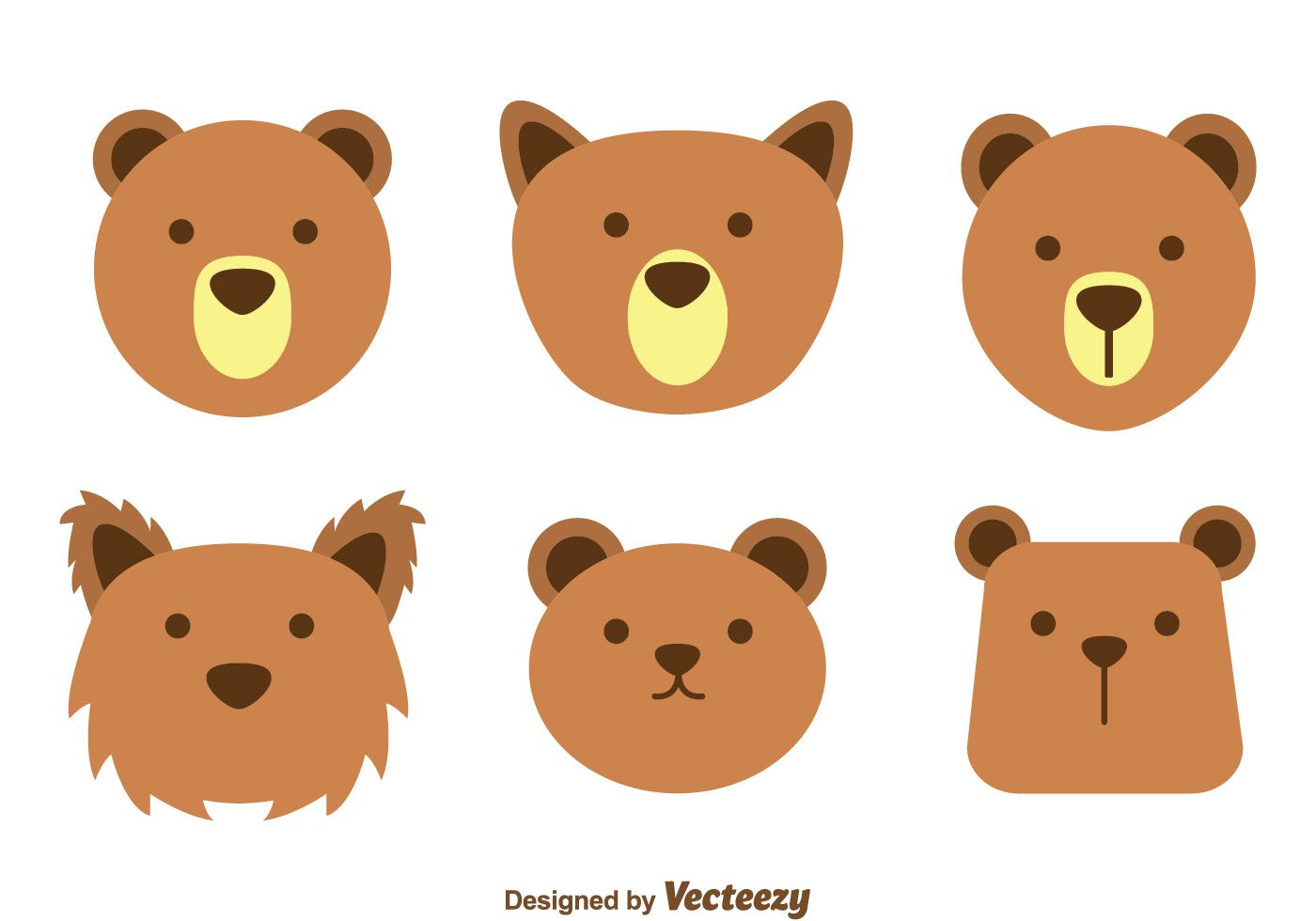 Collection Set Of Various Form Cute Brown Bear Face On White Background Bear Face Paint Bear Artwork Bear Drawing