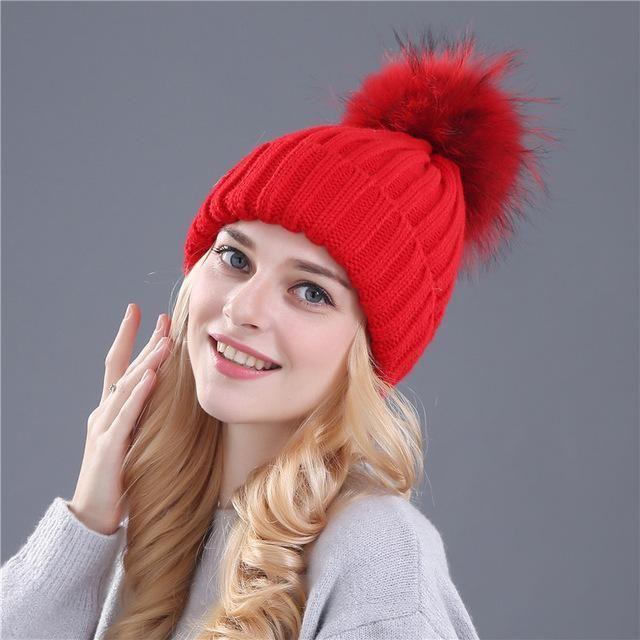 Xthree mink and fox fur ball cap pom poms winter hat for women girl ... 9b8a95beec72