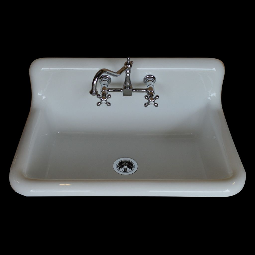 Single Basin High Back Sink W Faucet Drain Basket Bundle Model