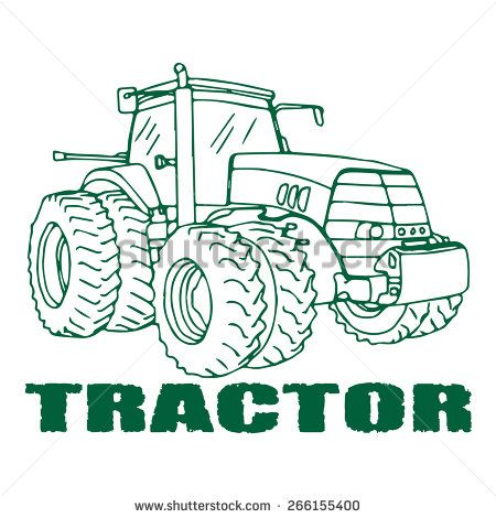 Illustration Of The Tractor Vector Freehand Drawing Can Be Used