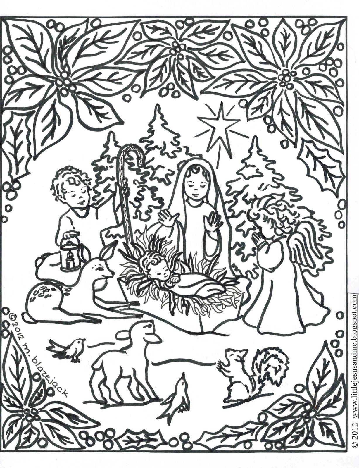 Jesus and Nativity Coloring Page