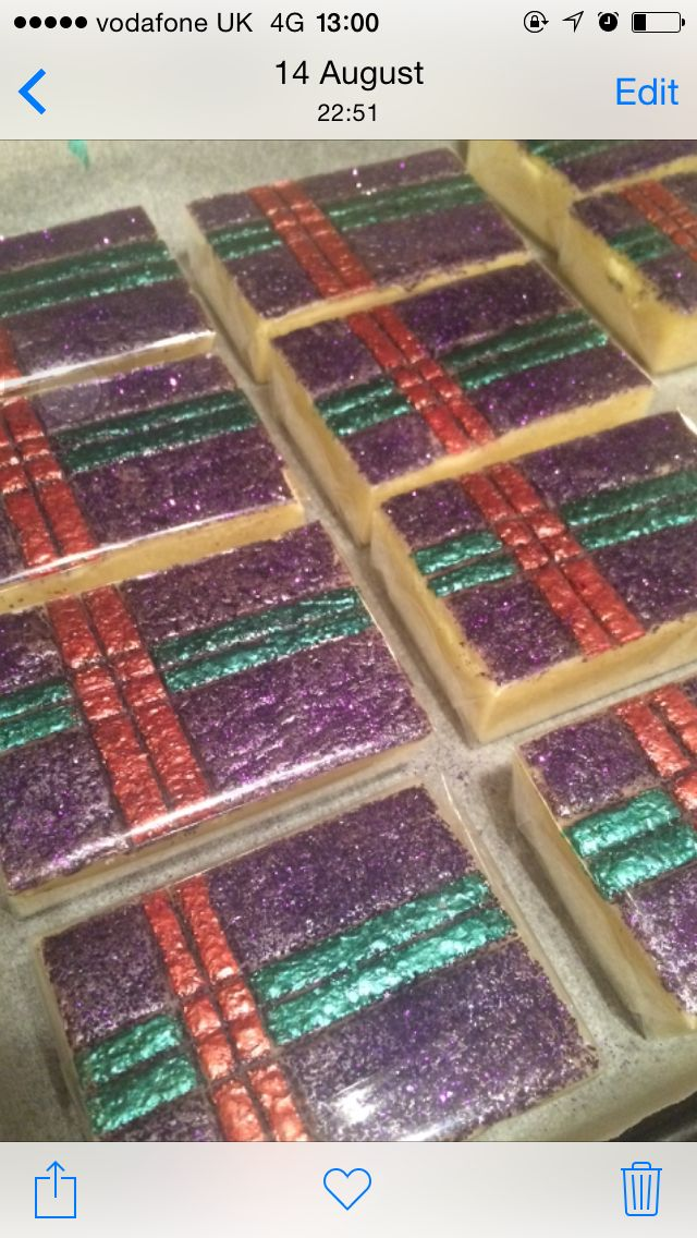 Tartan fudge ! For wedding favours - white chocolate fudge with edible glitter and metallic food paint topping