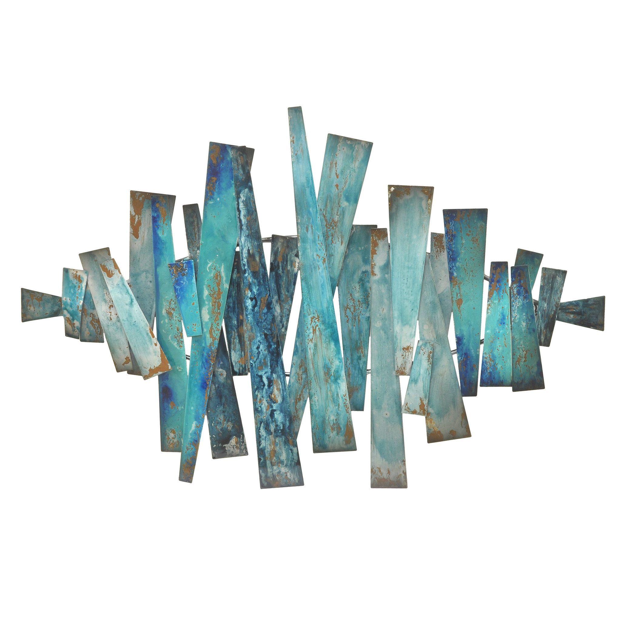 Three hands abstract metal slats wall decor blues slat wall