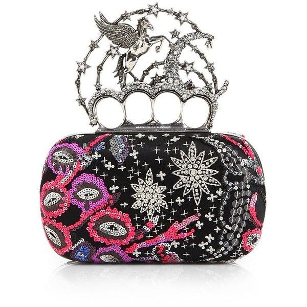 a03501dd084ad Alexander McQueen Pegasus Knuckle Sequined Box Clutch ($2,997) ❤ liked on  Polyvore featuring bags, handbags, clutches, apparel & accessories,  alexander ...