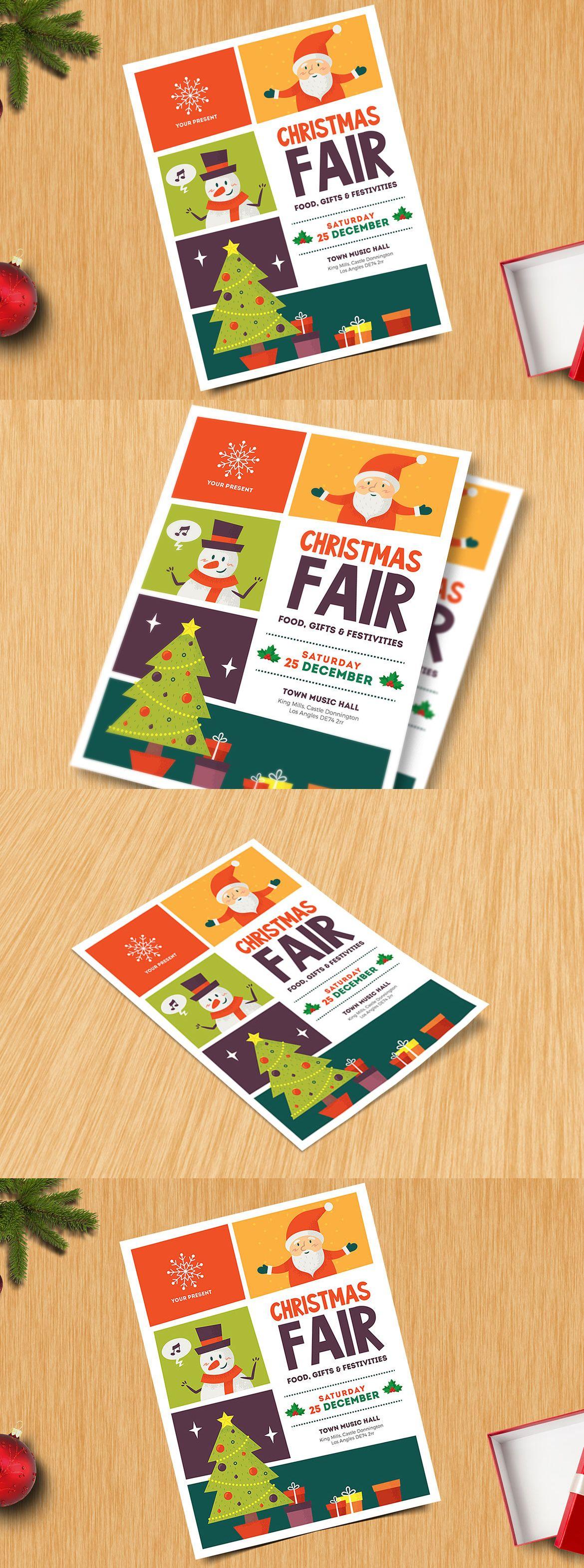 christmas fair flyer template vector ai psd flyer design
